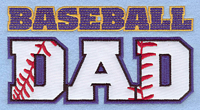 "Embroidery Design: Baseball dad large applique 6.50""w X 3.45""h"