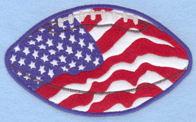 Embroidery Design: Americana Football applique6.51w X 3.96h