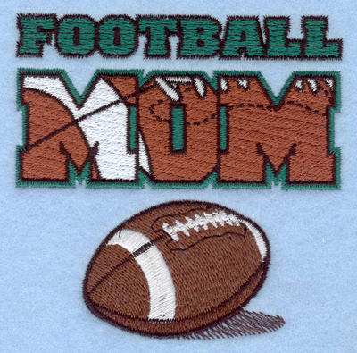 Embroidery Design: Football Mom with footbal3.90w X 3.89h