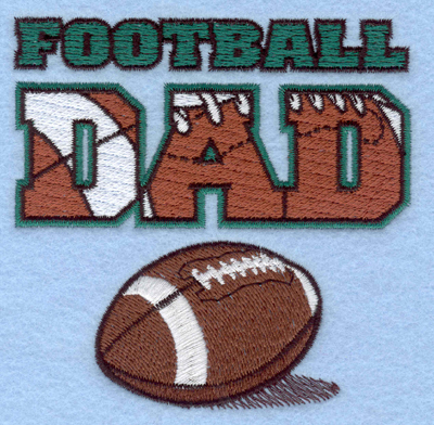 Embroidery Design: Football Dad with football3.89w X 3.88h