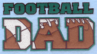 Embroidery Design: Football Dad applique6.50w X 3.40h