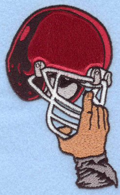 Embroidery Design: Helmet in hand applique2.97w X 5.00h