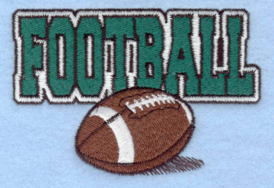 Embroidery Design: Football text with ball3.90w X 2.65h