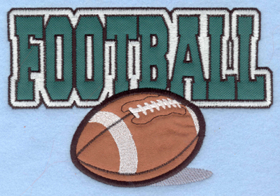 Embroidery Design: Football text with ball double applique7.00w X 4.74h