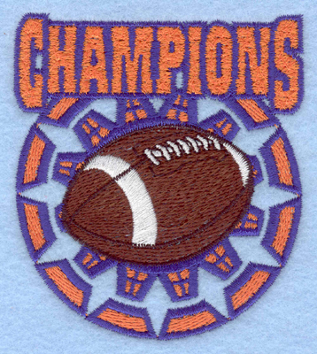 Embroidery Design: Champions with football3.09w X 3.47h
