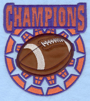 Embroidery Design: Champions with football double applique4.99w X 5.54h