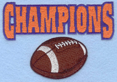 Embroidery Design: Champions with ball horizontal5.00w X 3.51h