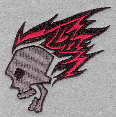 Embroidery Design: Skull with flames3.90w X 3.38h