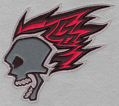 Embroidery Design: Skull with flames applique5.85w X 5.00h