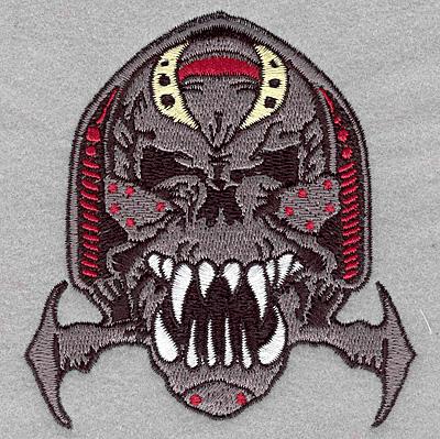 Embroidery Design: Warrior skull small3.65w X 3.90h