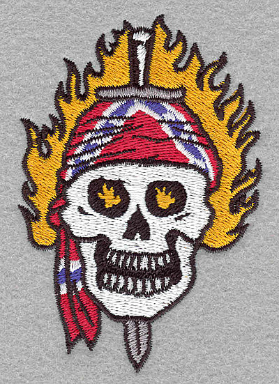 Embroidery Design: Skull with sword small2.74w x 3.90h
