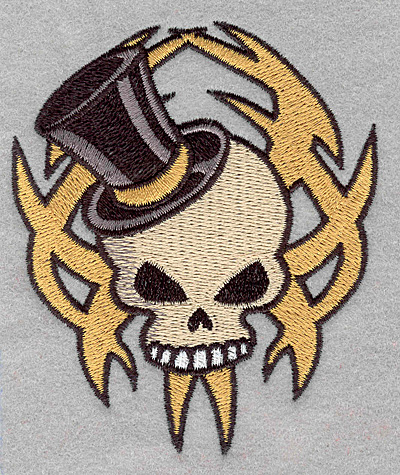 Embroidery Design: Skull with top hat small3.32w x 3.90h