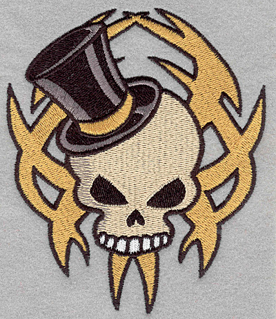 Embroidery Design: Skull with top hat large4.23w X 5.00h