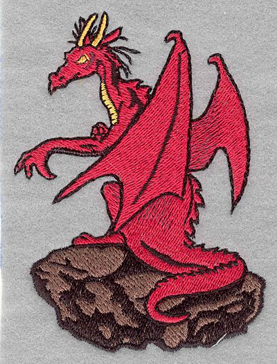 Embroidery Design: Dragon on rock3.34w x 4.57h