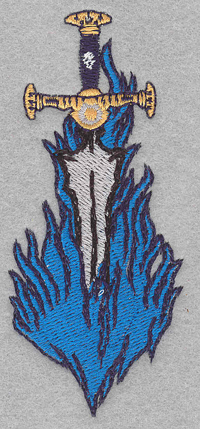Embroidery Design: Sword in flames small1.70w X 3.90h