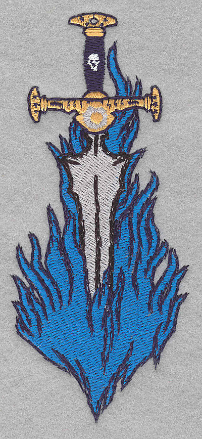 Embroidery Design: Sword in flames large2.18w X 5.00h