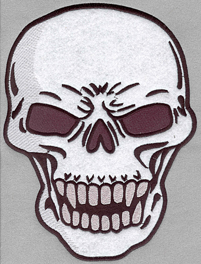 Embroidery Design: Skull applique full back7.81w X 10.35h