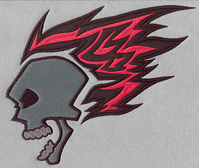 Embroidery Design: Flaming skull appliques full back9.35w X 7.87h