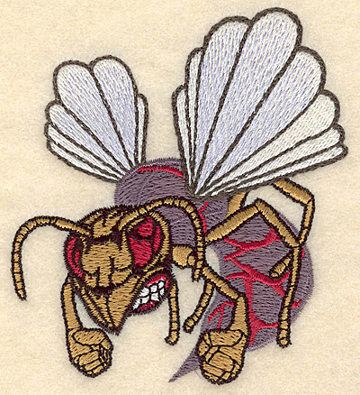 """Embroidery Design: Hornet small 3.45""""w X 3.81""""h"""