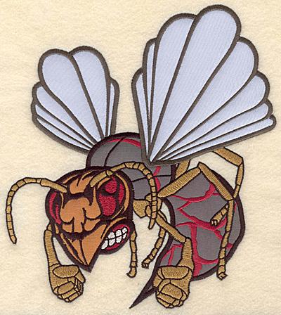 """Embroidery Design: Hornet large triple applique 7.59""""w X 8.41""""h"""
