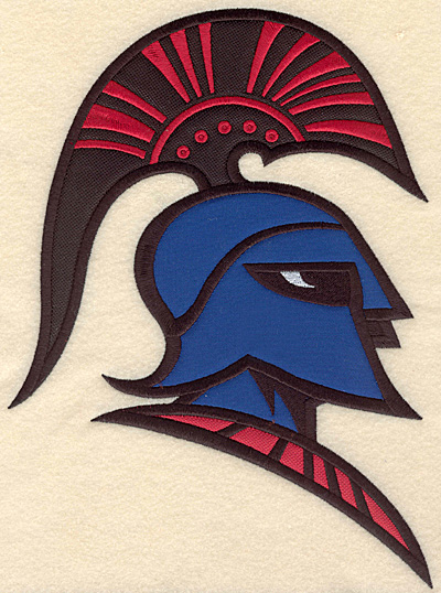 "Embroidery Design: Trojan warrior large triple applique 7.50""w X 10.27""h"