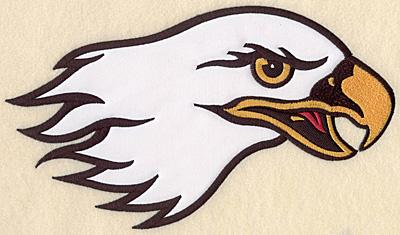 "Embroidery Design: Eagle head large double applique 10.50""w X 6.02""h"