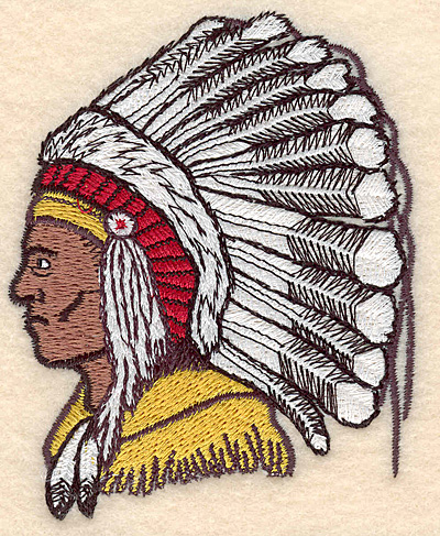 """Embroidery Design: Indian Head small 3.06""""w X 3.83""""h"""