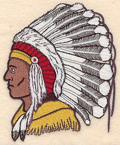 "Embroidery Design: Indian Head medium 4.89""w X 6.13""h"