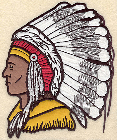 "Embroidery Design: Indian Head large five appliques 7.54""w X 9.45""h"
