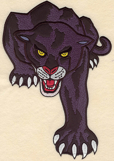 """Embroidery Design: Panther large double applique 7.28""""w X 10.53""""h"""