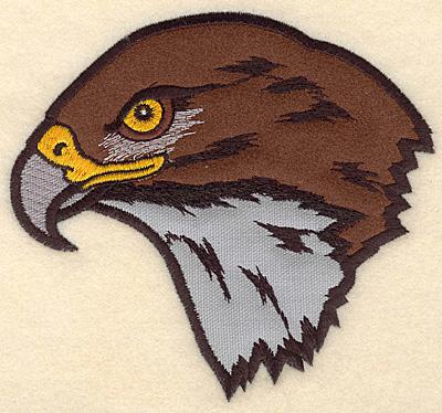 "Embroidery Design: Hawk Head medium double applique 5.42""w X 5.00""h"