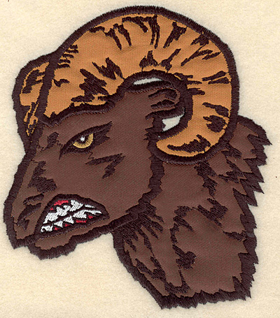 "Embroidery Design: Ram Head medium double applique 5.00""w X 5.72""h"