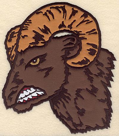 "Embroidery Design: Ram Head large triple applique 7.50""w X 8.57""h"