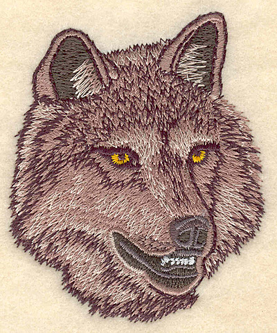 """Embroidery Design: Wolf Head small 2.81""""w X 3.37""""h"""