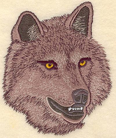 "Embroidery Design: Wolf Head medium 4.99""w X 6.00""h"
