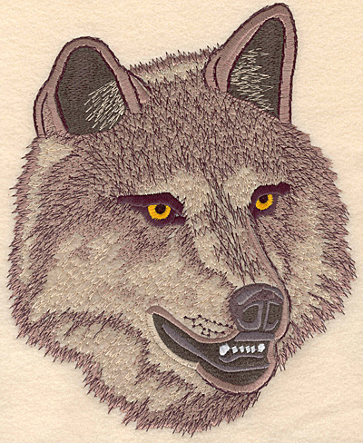 """Embroidery Design: Wolf Head large applique 7.51""""w X 9.11""""h"""