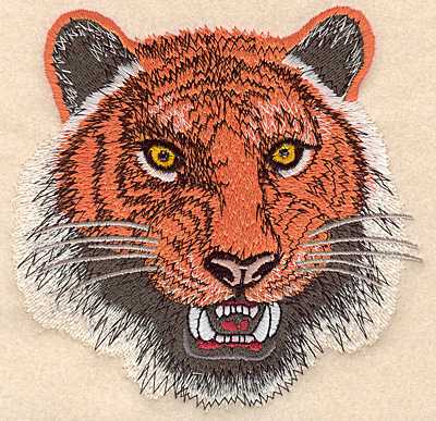 "Embroidery Design: Tiger Head medium 4.99""w X 5.00""h"