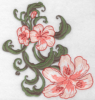 """Embroidery Design: Lily trio large Realistic  7.47""""h x 7.01""""w"""