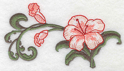 """Embroidery Design: Lily large Realistic  3.14""""h x 5.83""""w"""