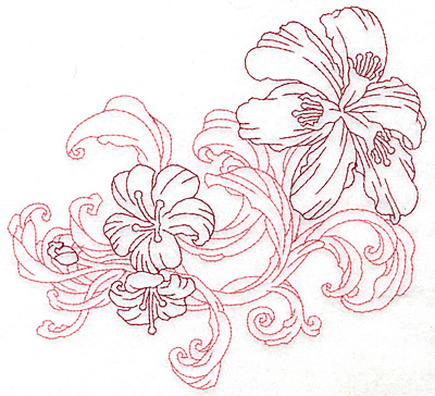 """Embroidery Design: Lily trio large Redwork  6.99""""h x 7.48""""w"""