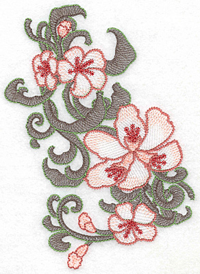 """Embroidery Design: Lily cluster vertical Artistic  6.88""""h x 4.90""""w"""