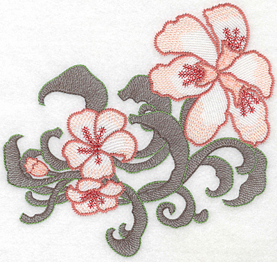 """Embroidery Design: Lily trio large Artistic  6.92""""h x 7.28""""w"""