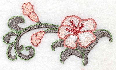 "Embroidery Design: Lily small Artistic  2.24""h x 3.90""w"