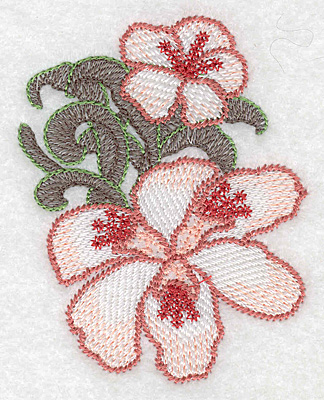 """Embroidery Design: Lily duo small Artistic  3.69""""h x 2.90""""w"""