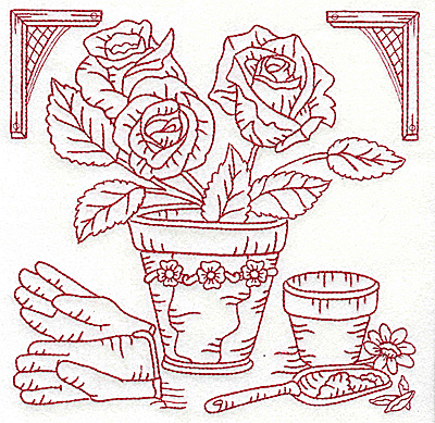 Embroidery Design: Flower pot with roses large 6.98w X 6.95h