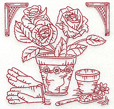 Embroidery Design: Flower pot with roses medium 4.95w X 4.93h