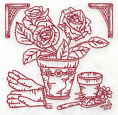 Embroidery Design: Flower pot with roses small 3.87w X 3.85h