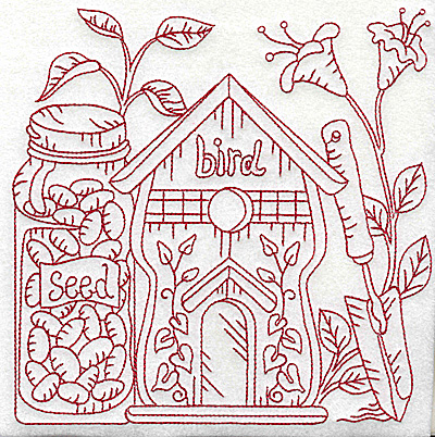 Embroidery Design: Birdhouse with seeds large 6.93w X 6.91h