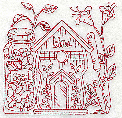 Embroidery Design: Birdhouse with seeds medium 4.95w X 4.94h