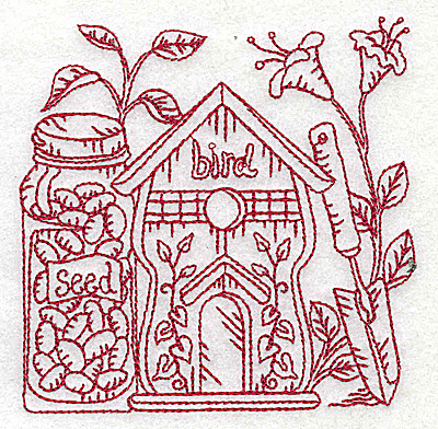 Embroidery Design: Birdhouse with seeds small 3.87w X 3.85h